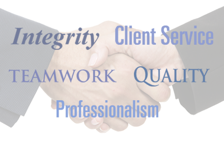 JCS Core Values: Integrity, Client Service, Quality, Teamwork, Professionalism
